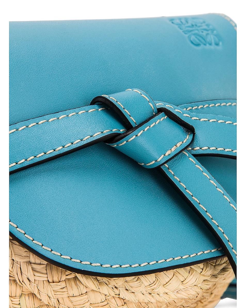 Image 8 of Loewe Mini Gate Bag in Light Blue & Natural