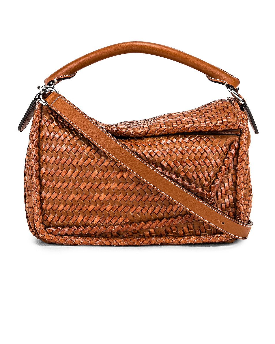 Image 1 of Loewe Puzzle Woven Small Bag in Tan