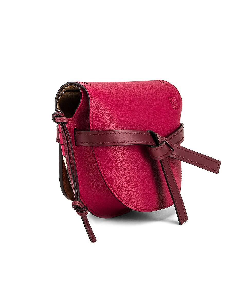 Image 4 of Loewe Gate Small Bag in Raspberry & Wine
