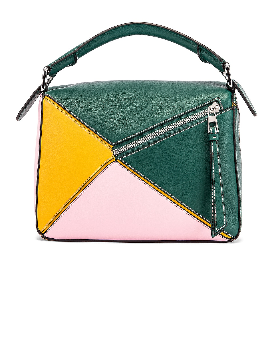 Image 3 of Loewe Puzzle Small Bag in Green & Pastel Pink