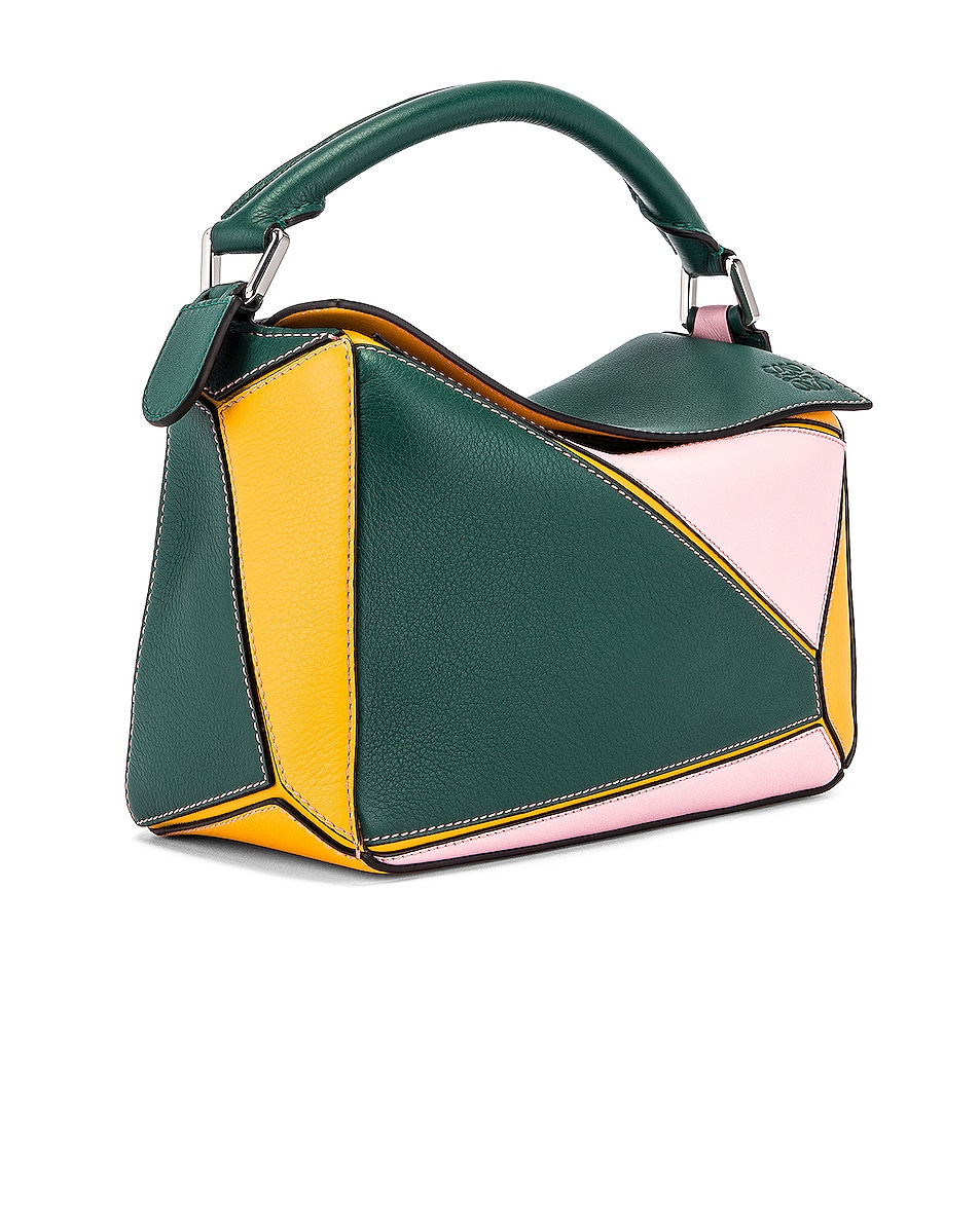 Image 4 of Loewe Puzzle Small Bag in Green & Pastel Pink