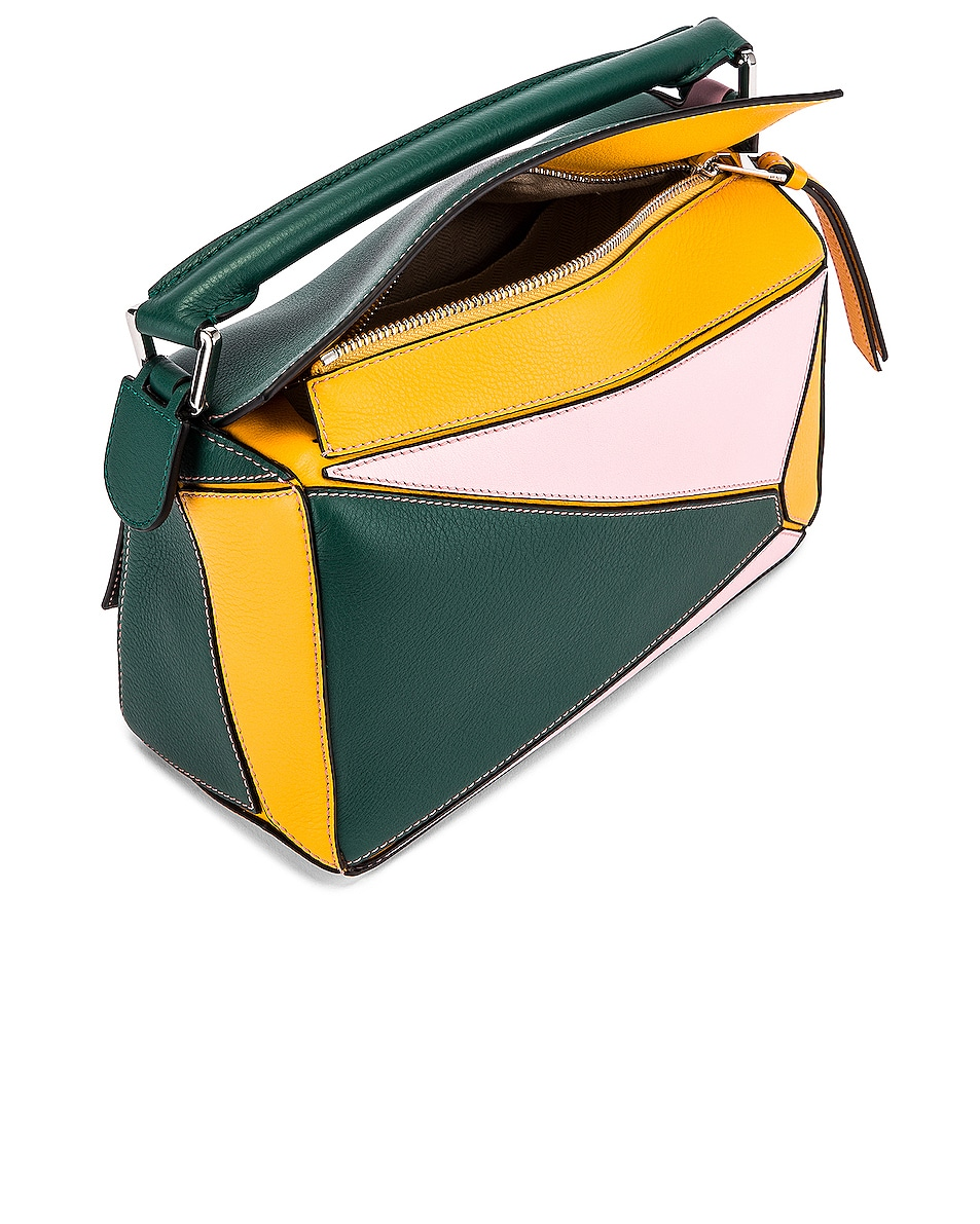 Image 5 of Loewe Puzzle Small Bag in Green & Pastel Pink