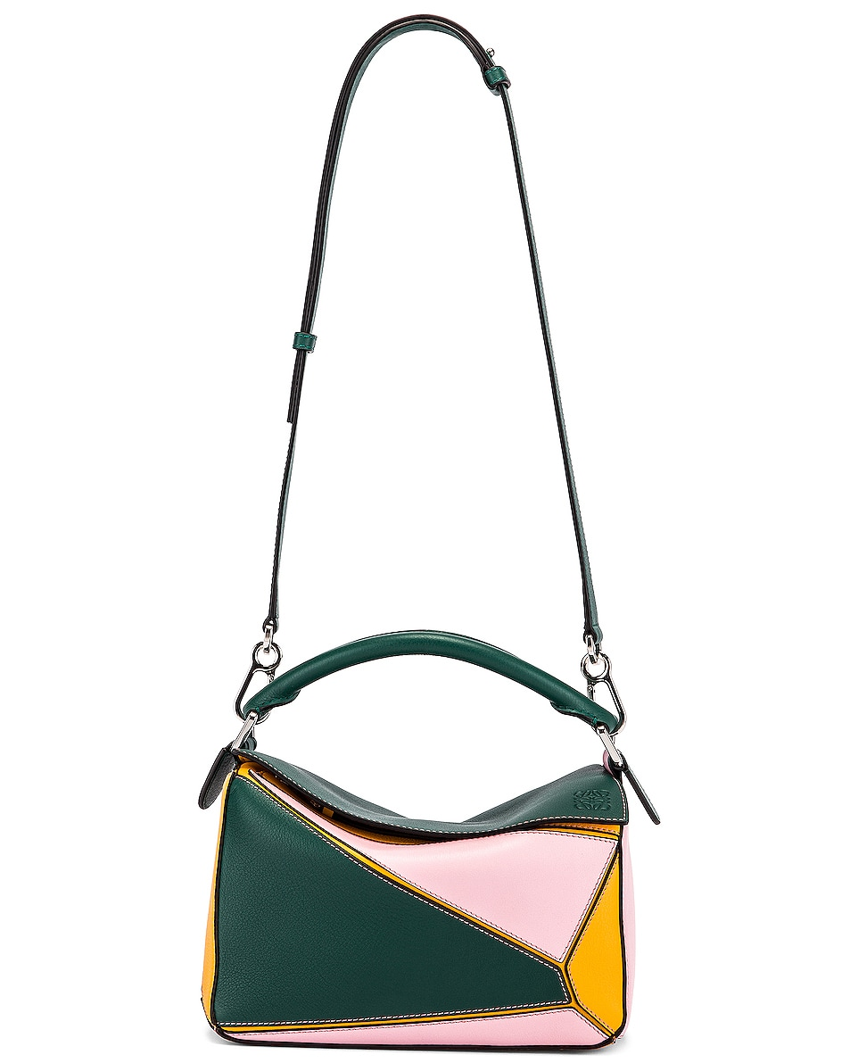 Image 6 of Loewe Puzzle Small Bag in Green & Pastel Pink