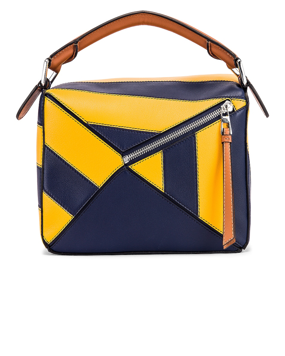 Image 3 of Loewe Puzzle Rugby Small Bag in Yellow Mango & Marine