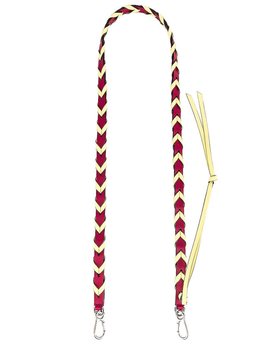 Image 1 of Loewe Braided Thin Strap in Raspberry & Yellow