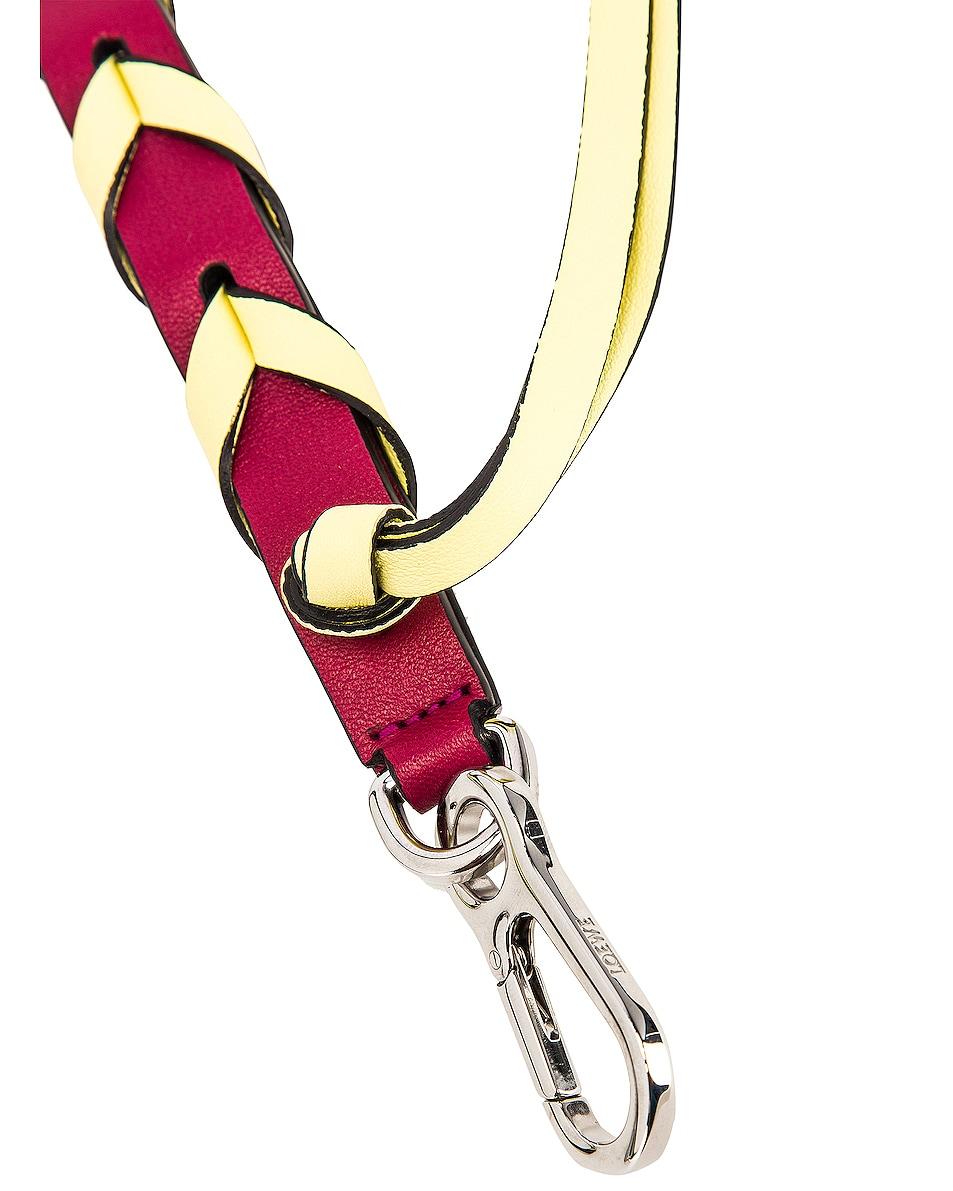 Image 4 of Loewe Braided Thin Strap in Raspberry & Yellow