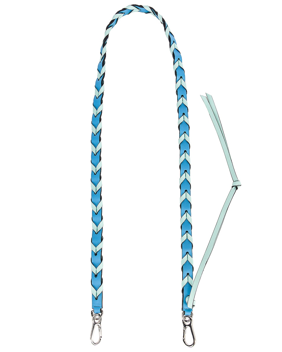 Image 1 of Loewe Braided Thin Strap in Sky Blue & Mint