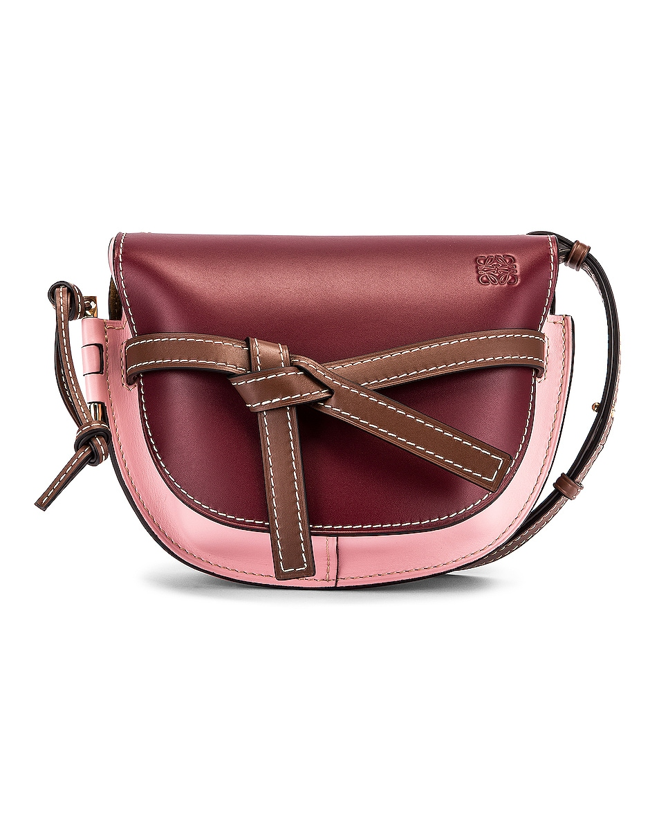 Image 1 of Loewe Gate Small Bag in Wine & Pastel Pink