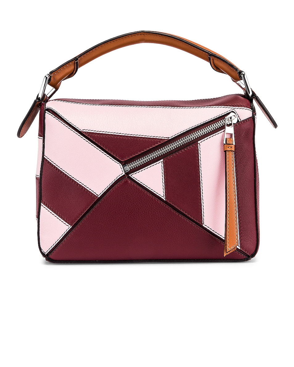 Image 3 of Loewe Puzzle Rugby Small Bag in Wine & Pastel Pink