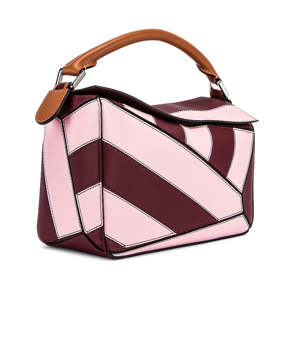 Image 4 of Loewe Puzzle Rugby Small Bag in Wine & Pastel Pink