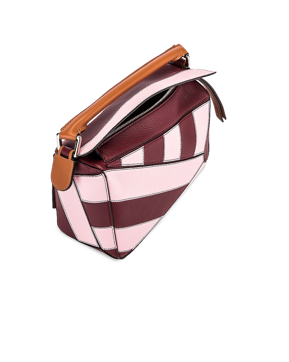 Image 5 of Loewe Puzzle Rugby Small Bag in Wine & Pastel Pink