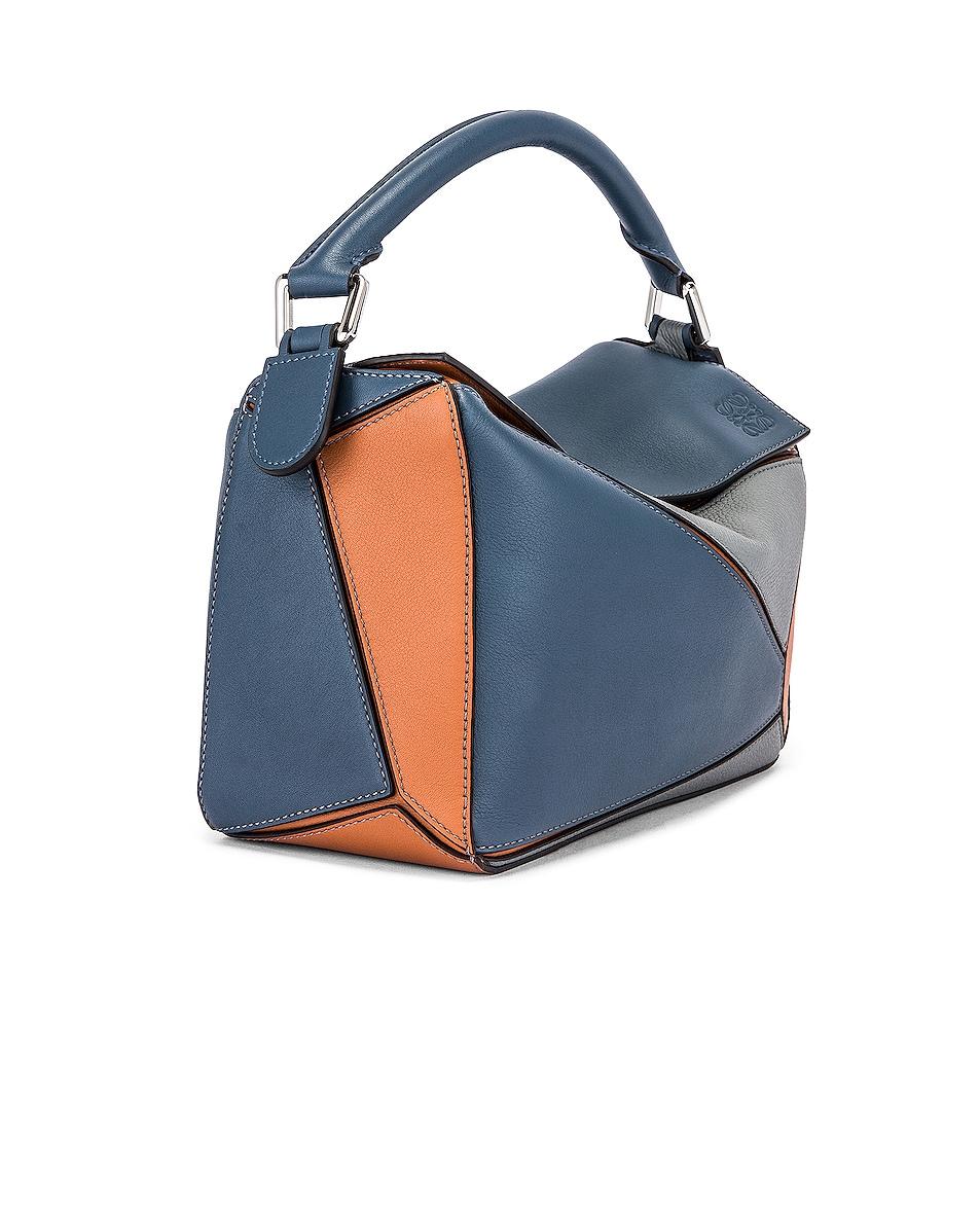 Image 4 of Loewe Puzzle Small Bag in Steel Blue & Tan
