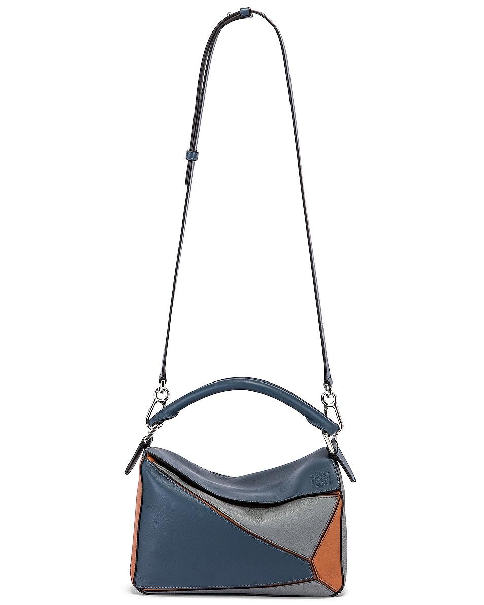 Image 6 of Loewe Puzzle Small Bag in Steel Blue & Tan