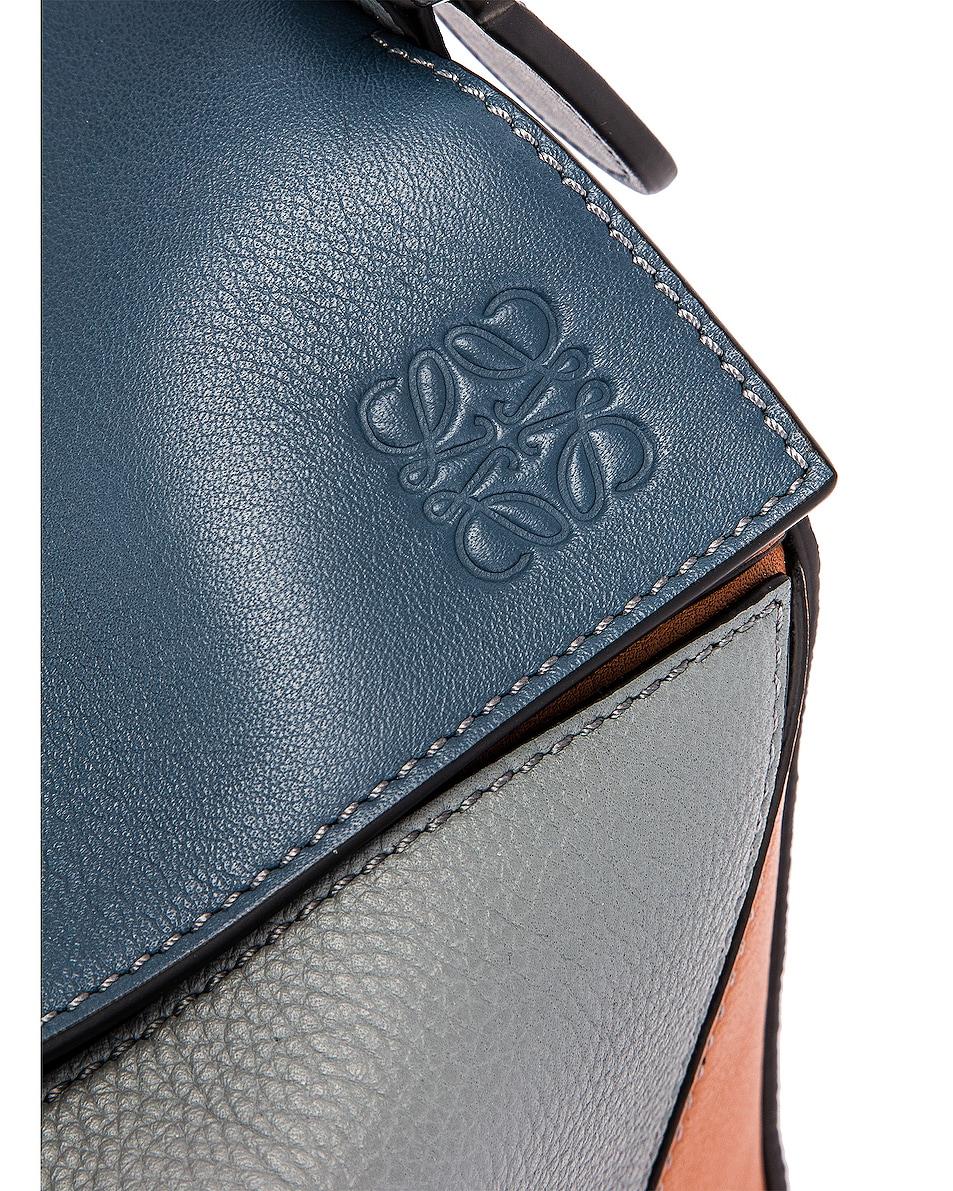 Image 8 of Loewe Puzzle Small Bag in Steel Blue & Tan
