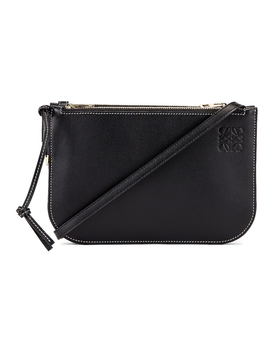 Image 1 of Loewe Double Zip Gate Pouch in Black