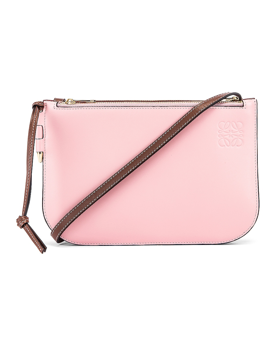 Image 1 of Loewe Double Zip Gate Pouch in Wine & Pastel Pink