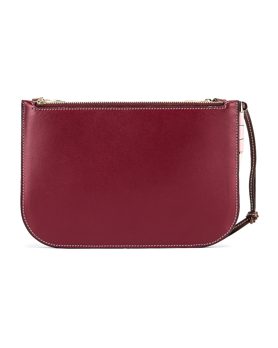Image 3 of Loewe Double Zip Gate Pouch in Wine & Pastel Pink