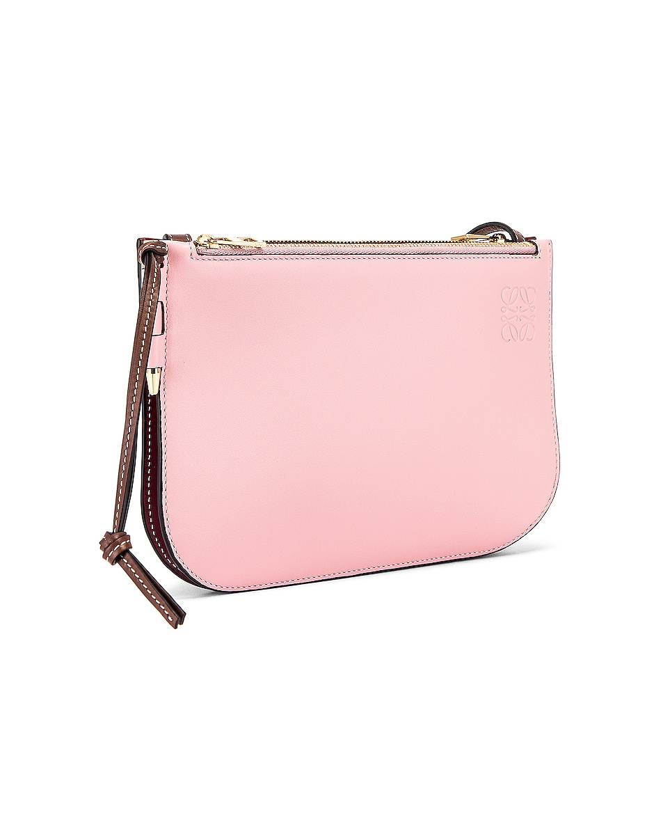 Image 4 of Loewe Double Zip Gate Pouch in Wine & Pastel Pink