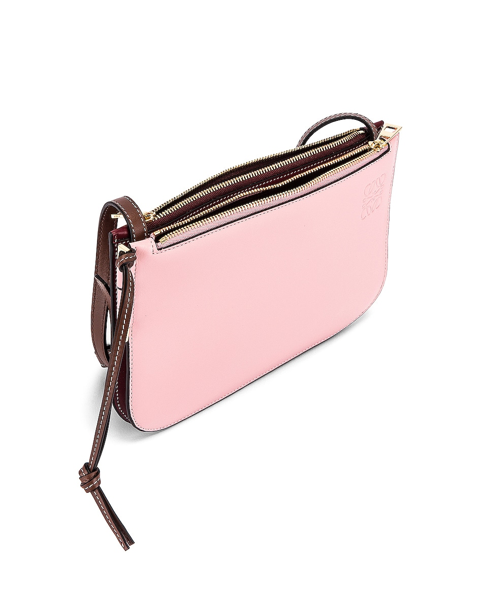 Image 5 of Loewe Double Zip Gate Pouch in Wine & Pastel Pink
