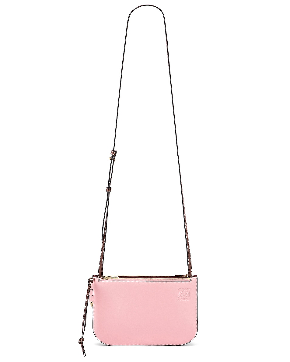 Image 6 of Loewe Double Zip Gate Pouch in Wine & Pastel Pink