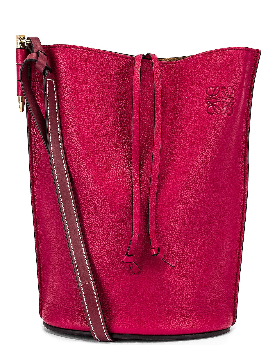 Image 1 of Loewe Gate Bucket Bag in Raspberry & Wine