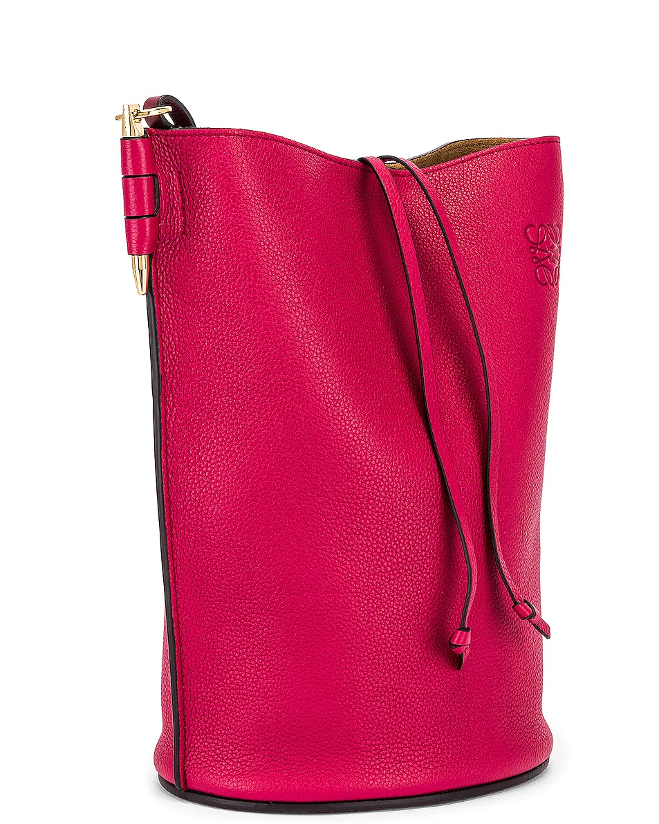 Image 3 of Loewe Gate Bucket Bag in Raspberry & Wine