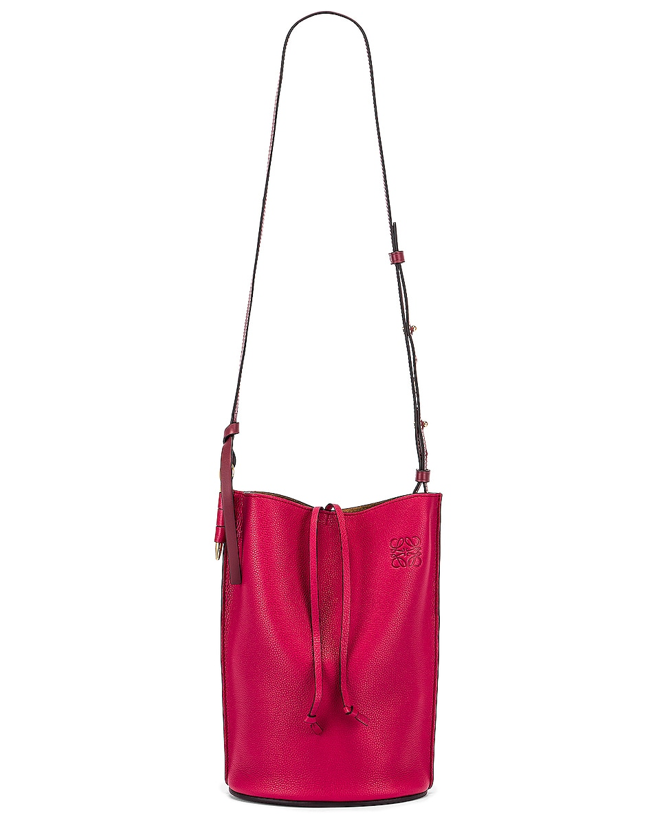 Image 5 of Loewe Gate Bucket Bag in Raspberry & Wine