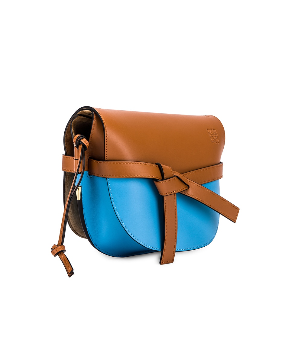 Image 4 of Loewe Gate Small Bag in Tan & Sky Blue