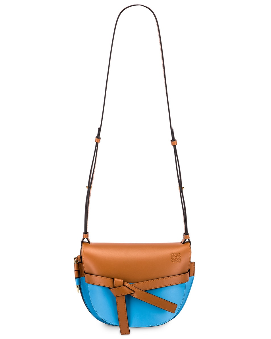 Image 6 of Loewe Gate Small Bag in Tan & Sky Blue