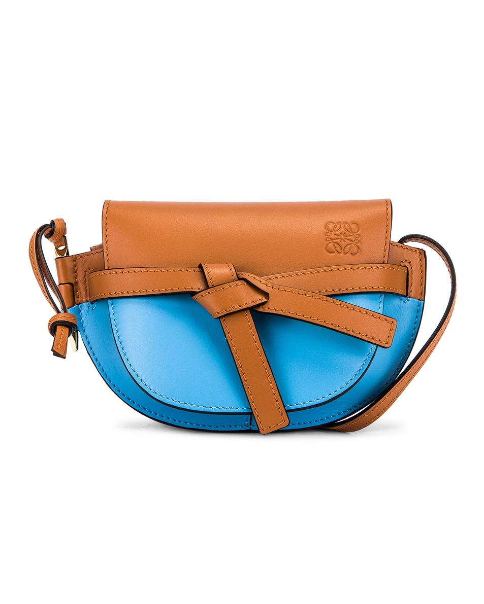 Image 1 of Loewe Gate Colour Block Bag in Tan & Sky Blue