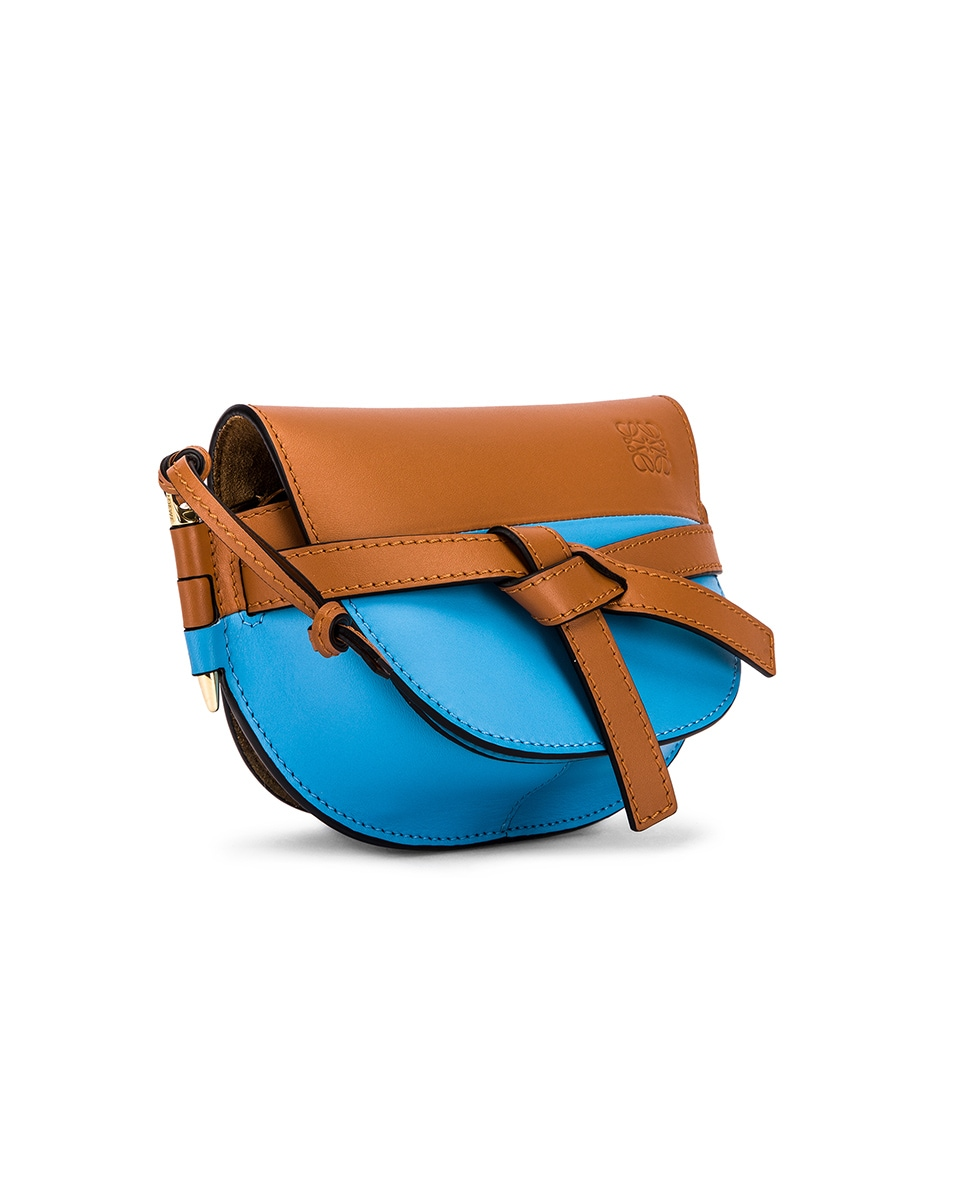 Image 3 of Loewe Gate Colour Block Bag in Tan & Sky Blue