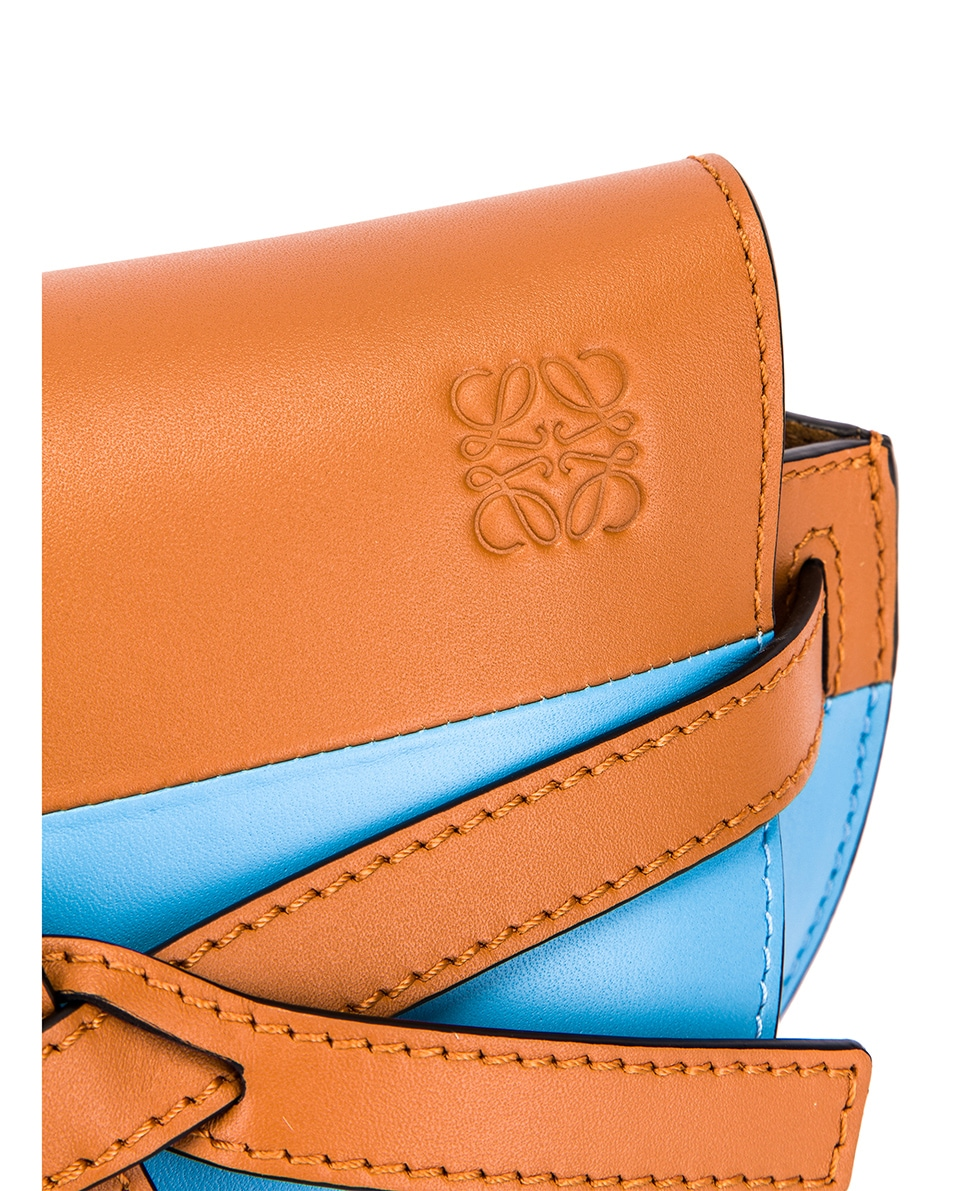 Image 8 of Loewe Gate Colour Block Bag in Tan & Sky Blue