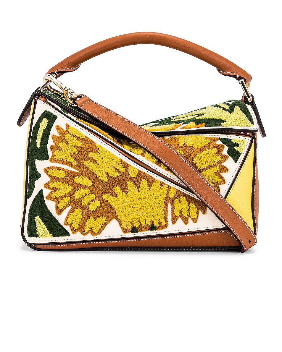Image 1 of Loewe Puzzle Floral Small Bag in Yellow