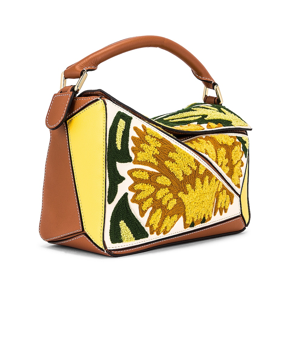Image 4 of Loewe Puzzle Floral Small Bag in Yellow