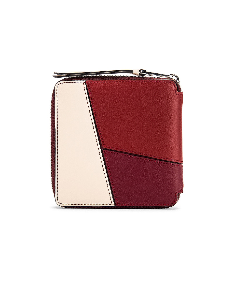 Image 2 of Loewe Puzzle Square Zip Wallet in Wine & Garnet