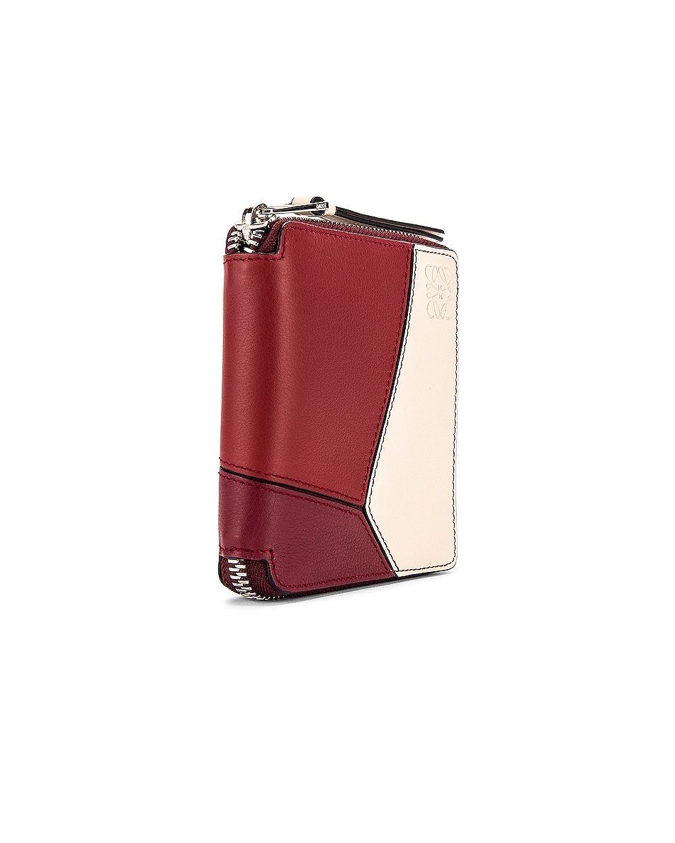 Image 3 of Loewe Puzzle Square Zip Wallet in Wine & Garnet