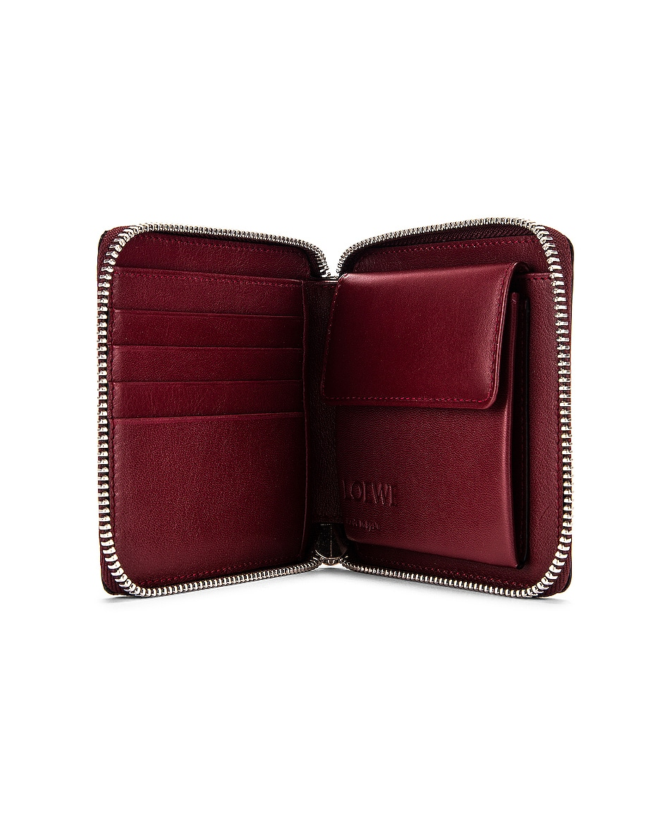 Image 4 of Loewe Puzzle Square Zip Wallet in Wine & Garnet
