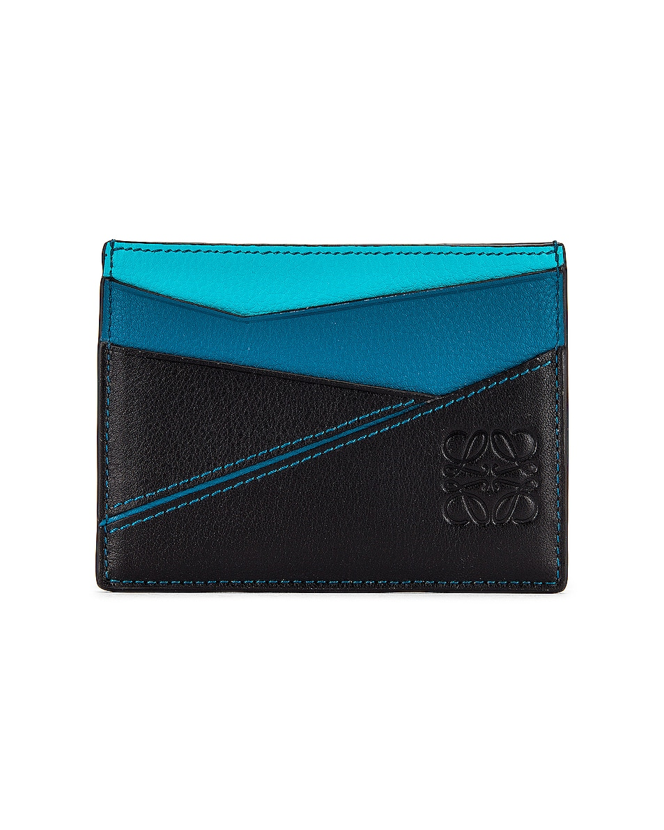 Image 1 of Loewe Puzzle Plain Cardholder in Dark Lagoon & Black