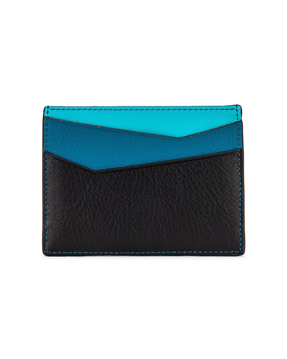 Image 2 of Loewe Puzzle Plain Cardholder in Dark Lagoon & Black