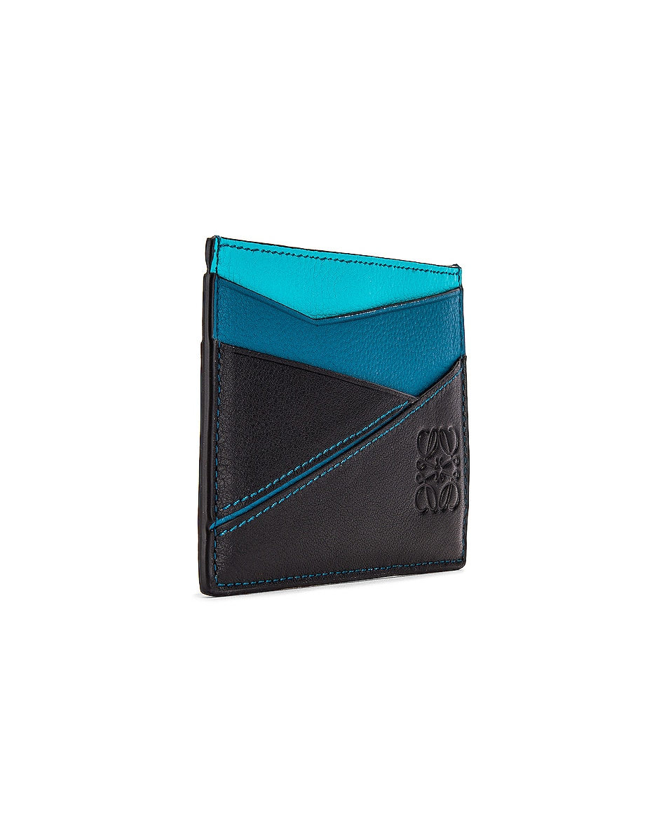 Image 3 of Loewe Puzzle Plain Cardholder in Dark Lagoon & Black