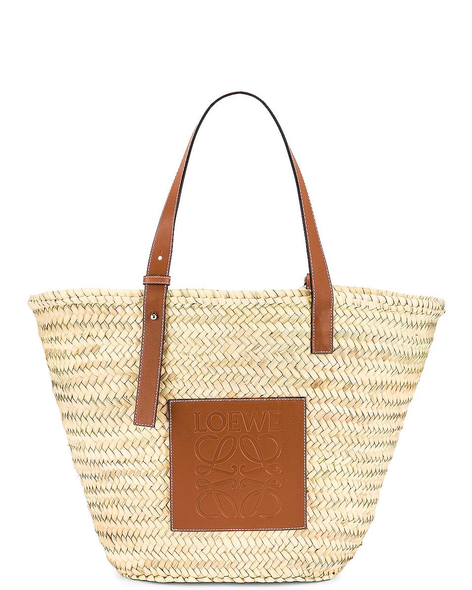 Image 1 of Loewe Large Basket Bag in Natural & Tan