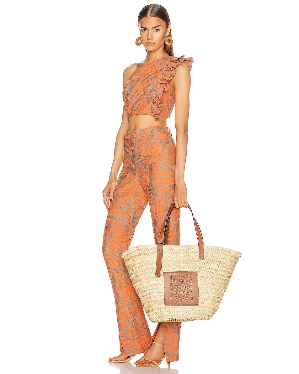 Image 2 of Loewe Large Basket Bag in Natural & Tan