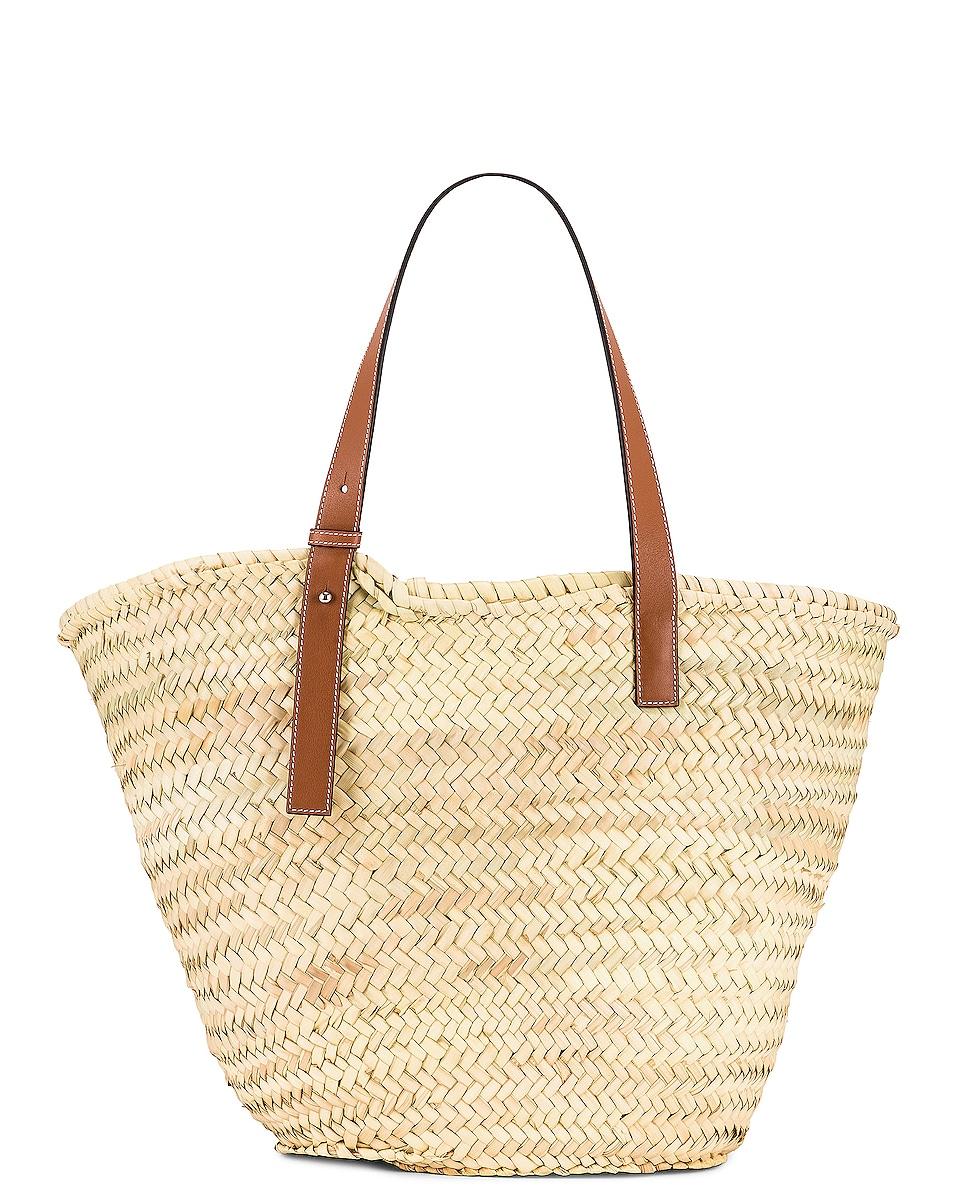 Image 3 of Loewe Large Basket Bag in Natural & Tan