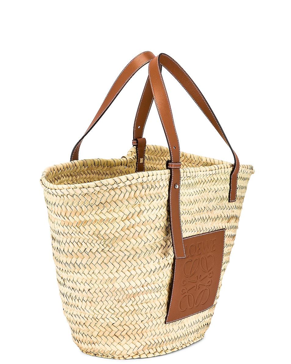 Image 4 of Loewe Large Basket Bag in Natural & Tan