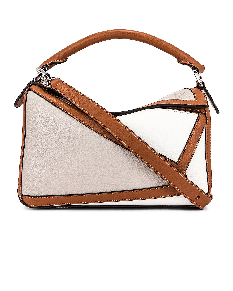 Image 1 of Loewe Puzzle Graphic Small Bag in Ghost & Soft White