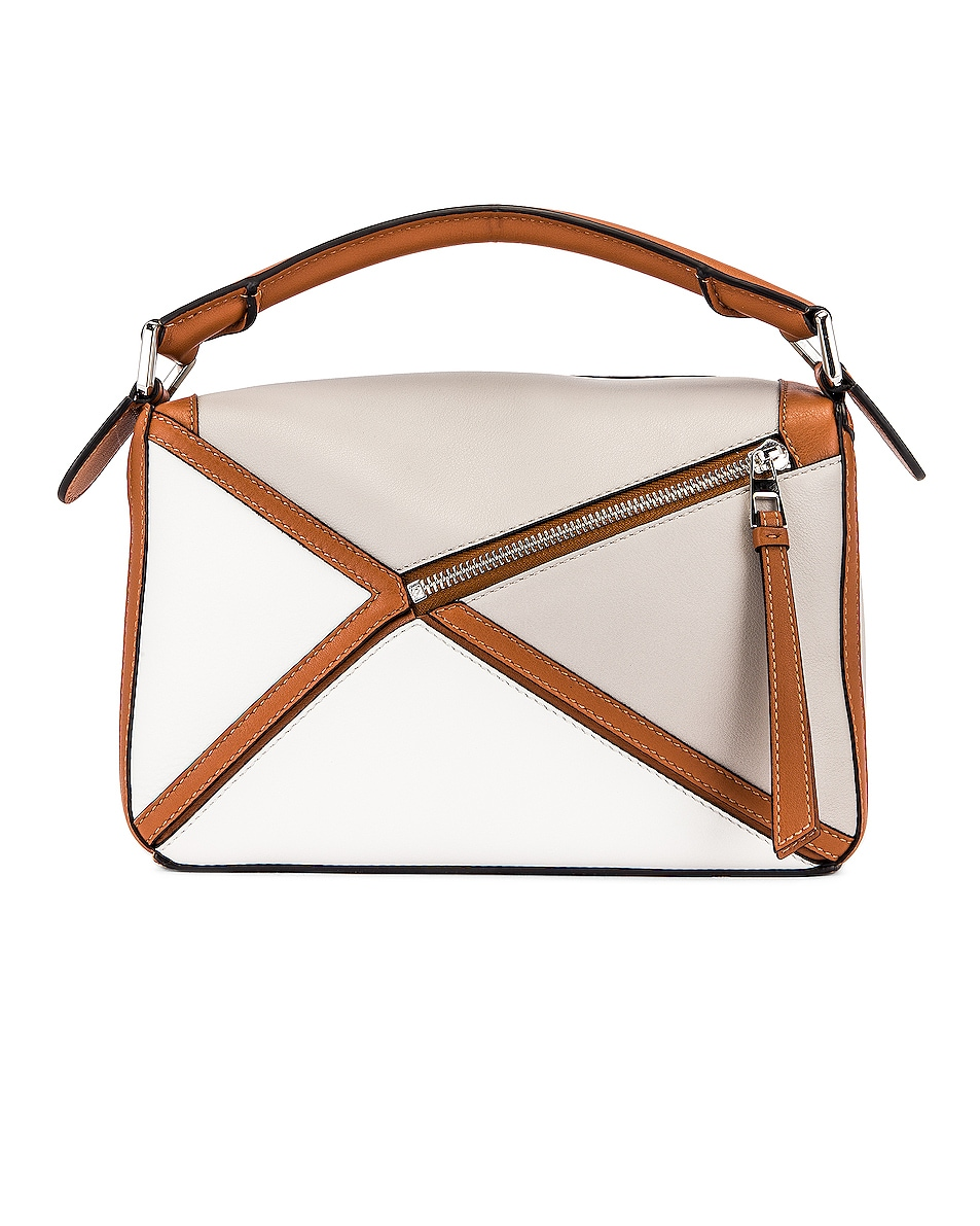 Image 3 of Loewe Puzzle Graphic Small Bag in Ghost & Soft White
