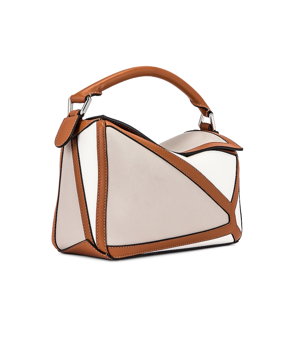 Image 4 of Loewe Puzzle Graphic Small Bag in Ghost & Soft White