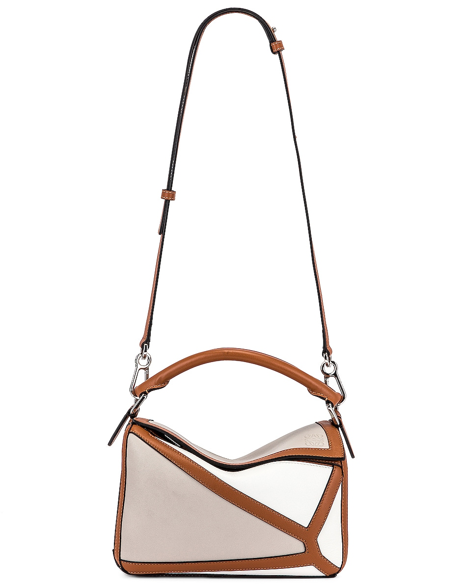Image 6 of Loewe Puzzle Graphic Small Bag in Ghost & Soft White