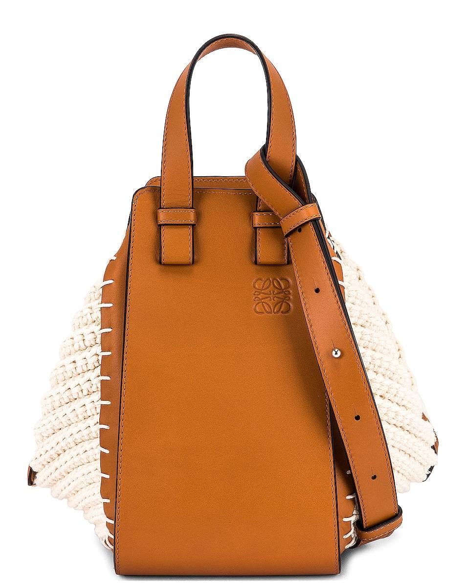 Image 1 of Loewe Hammock Knit Small Bag in Tan & Natural