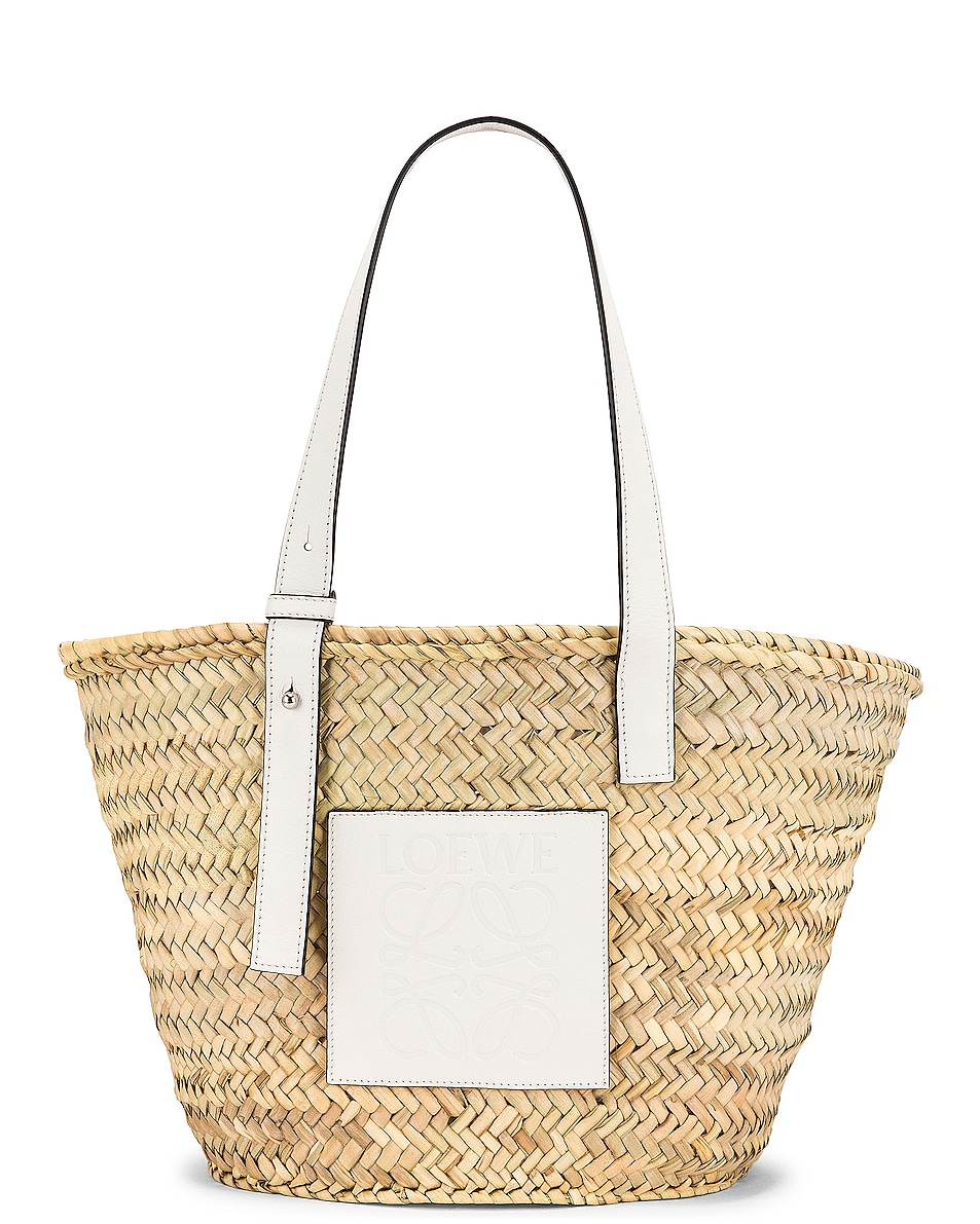 Image 1 of Loewe Basket Bag in Natural & White